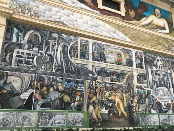 The heart of the DIA, the Diego Rivera Detroit Industry murals are a must see